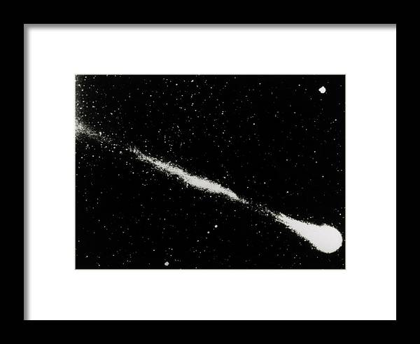 Comet Framed Print featuring the photograph Halley's Comet As Seen By The Soviet Vega Mission by Ria Novosti