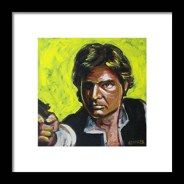 Han Solo Played By Harrison Ford In Star Wars Framed Print featuring the painting Han Solo by Buffalo Bonker