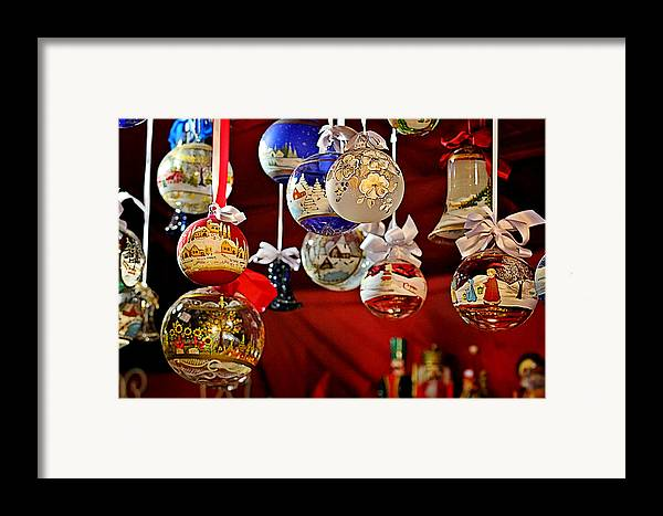 Holidays Framed Print featuring the photograph Handcrafted Mouth Blown Christmas Glass Balls by Christine Till