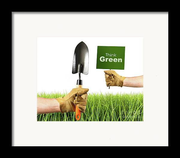 Agriculture Framed Print featuring the photograph Hands Holding Garden Trowel And Sign by Sandra Cunningham
