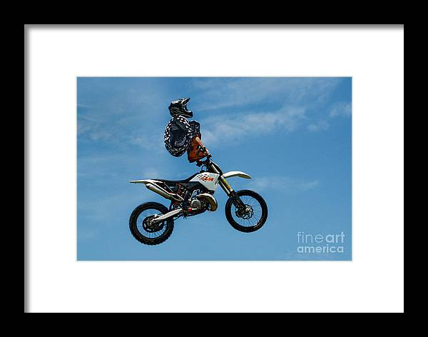 Motorcycle Framed Print featuring the photograph Hanging On Motorcycle Tricks by Andrea Kollo