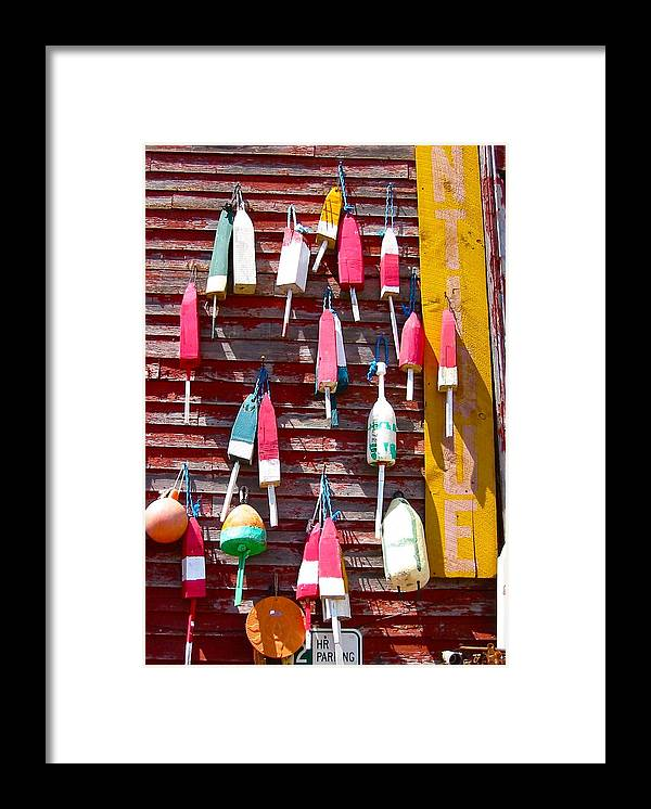 Photo Of Buoys Framed Print featuring the photograph Hanging Out In Maine by Sarah Gayle Carter