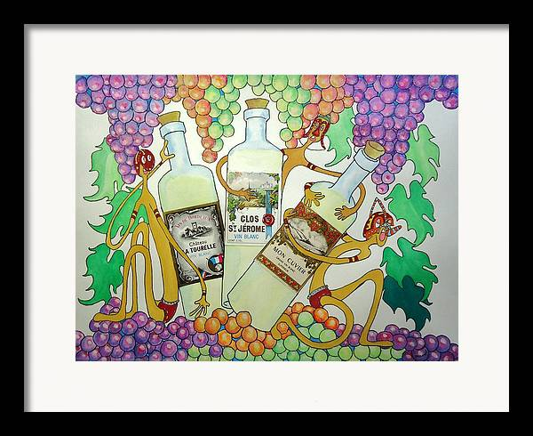Grapes Framed Print featuring the painting Happy People With Wine by Glenn Calloway
