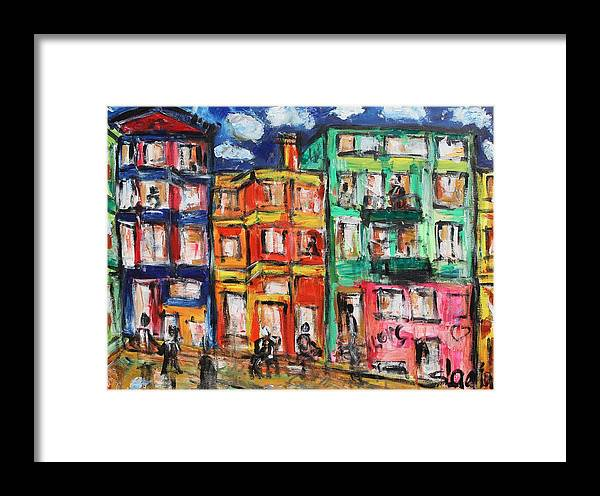 Cities Framed Print featuring the painting Happy Street by Sladjana Lazarevic