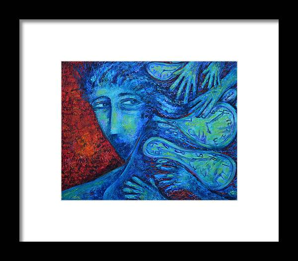 Dreams Framed Print featuring the painting Harassment Of Time by Pablo Montes