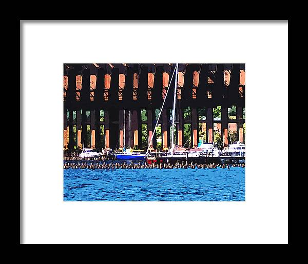 Photo Framed Print featuring the photograph Harbor Docks by Phil Perkins
