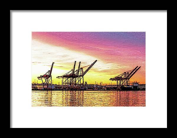 Sunrise Framed Print featuring the digital art Harbor Island Sunrise by Arthur Kuntz