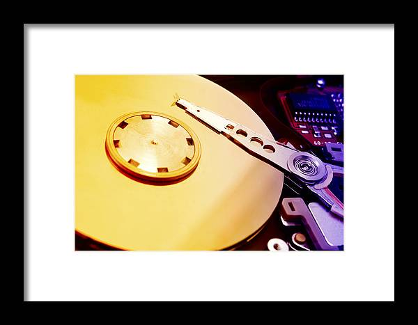 Macro Framed Print featuring the photograph Hard Disk Detail by Fabrizio Troiani