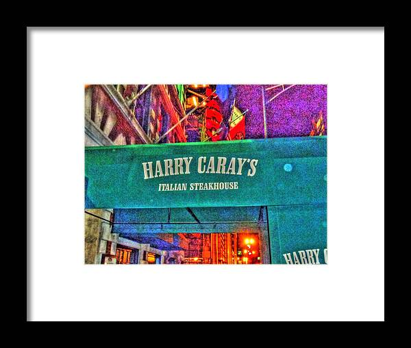 Harry Caray's Framed Print featuring the digital art Harry Caray's by Barry R Jones Jr