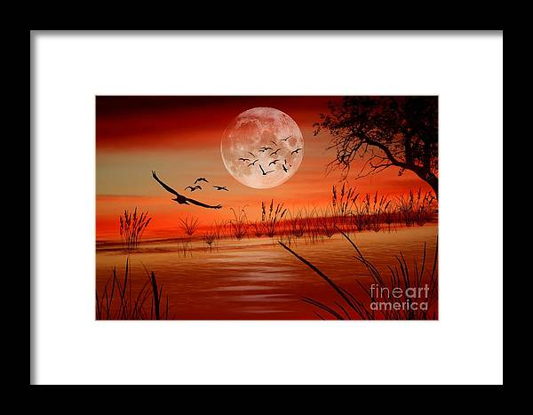 Sunset Framed Print featuring the digital art Harvest Moon by Erica Hanel