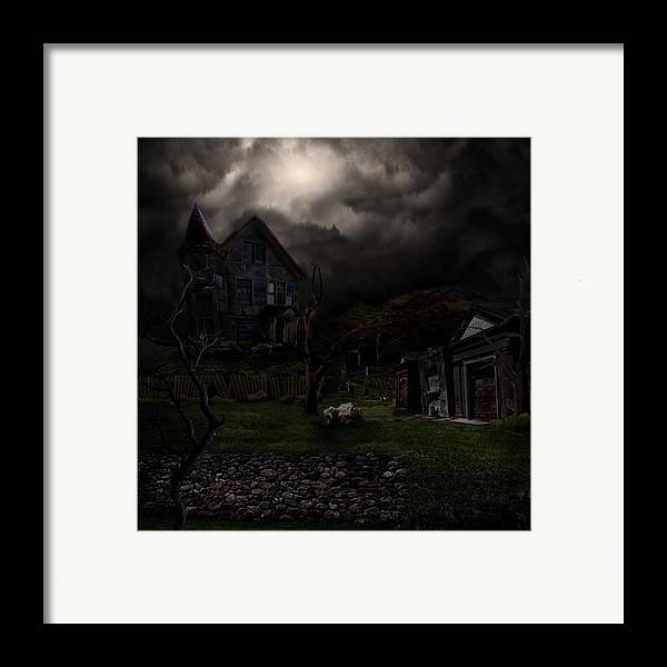 House Framed Print featuring the digital art Haunted House by Lisa Evans