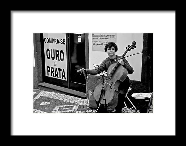 Ponta Delgada Framed Print featuring the photograph Have Cello Will Play by Eric Tressler