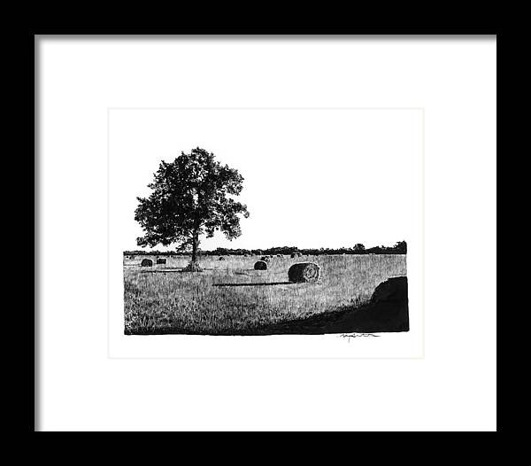Hayfield Framed Print featuring the drawing Hayfield by Gary Gackstatter