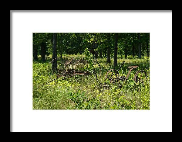 Farm Framed Print featuring the photograph Hayrake And Cutter by Douglas Barnett