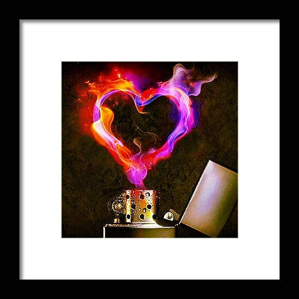 Heart Framed Print Featuring The Photograph Love Lighter Flame Fire