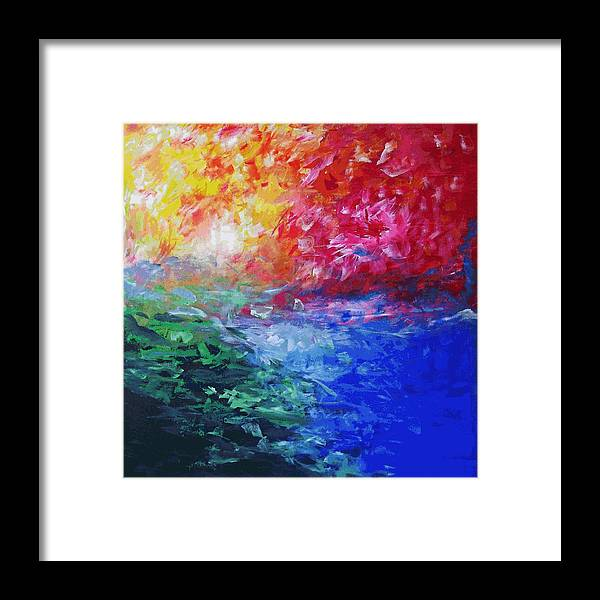 Abstract Framed Print featuring the painting Heaven in Flames by Mac Mood