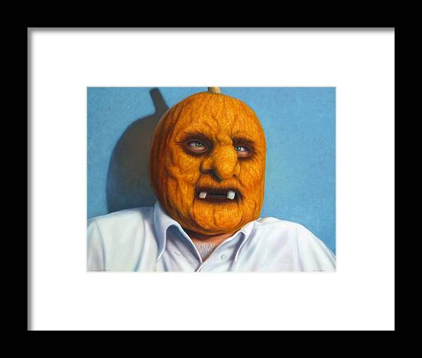 Halloween Framed Print featuring the painting Heavy Vegetable-head by James W Johnson