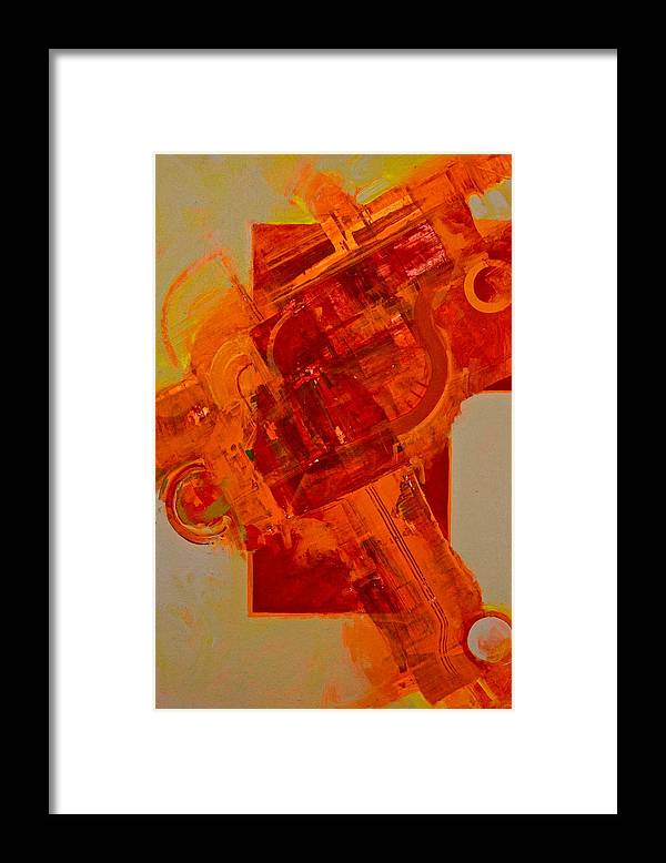 Abstract Paintings Framed Print featuring the painting Hellbow by Cliff Spohn