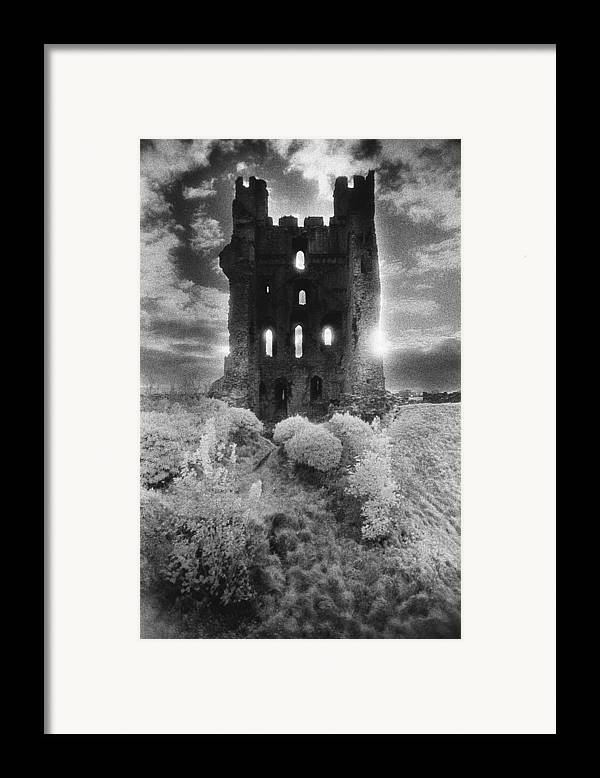 Medieval; Glowing; Sunlight Framed Print featuring the photograph Helmsley Castle by Simon Marsden