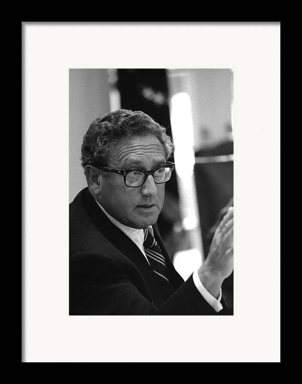 History Framed Print featuring the photograph Henry Kissinger In A Meeting Following by Everett
