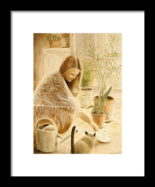 Kitty Framed Print featuring the painting Here Kitty by Rita Bentley