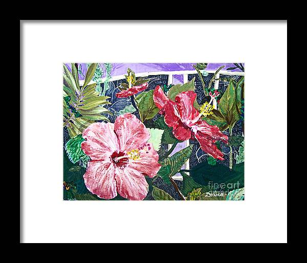 Hibiscus Framed Print featuring the mixed media Hibiscus Seductris by Drina Fried