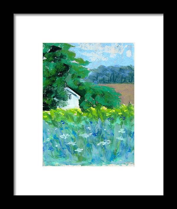 Landscape Framed Print featuring the pastel Hidden by Georgene Carlton