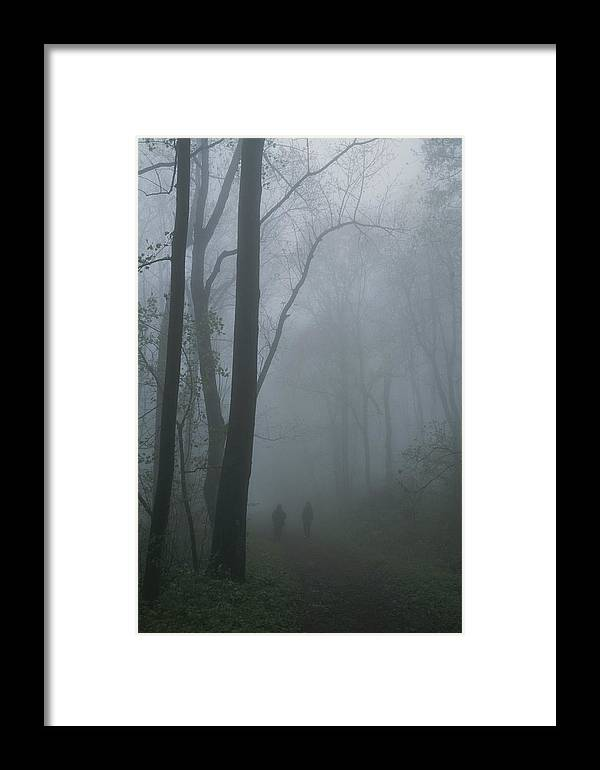 North America Framed Print featuring the photograph Hikers Enjoy A Foggy Outing On A Trail by George F. Mobley