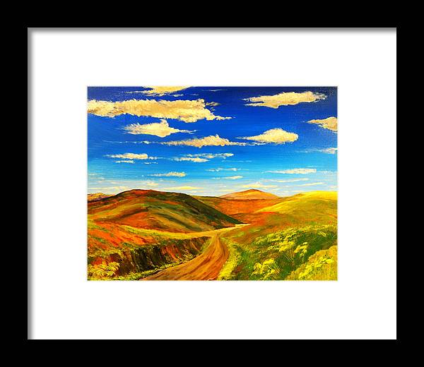 Landscape Framed Print featuring the painting Hill View Valley by Nelson