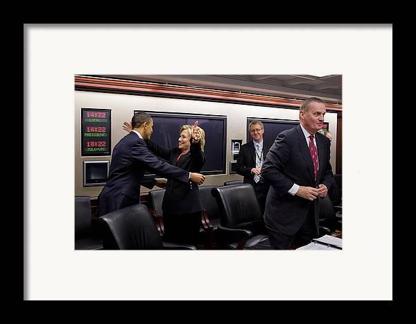 History Framed Print featuring the photograph Hillary Clinton Joyfully Congratulates by Everett
