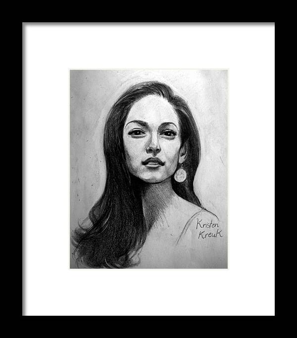 Kristen Kreuk Framed Print featuring the drawing His First Love by Ulysses Albert III