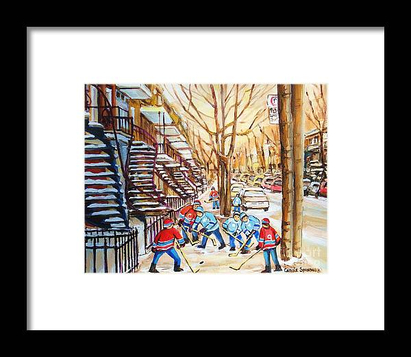 Montreal Framed Print featuring the painting Hockey Game Near Winding Staircases by Carole Spandau