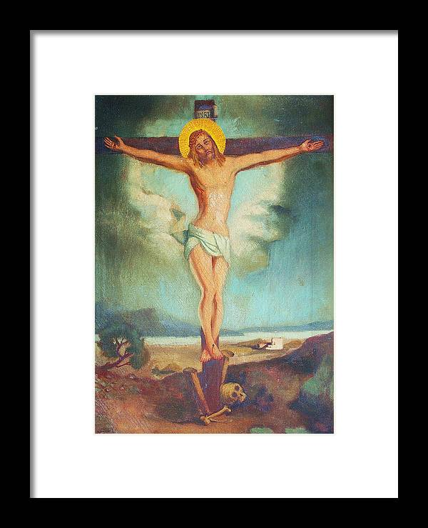 Jesus Christ Framed Print featuring the painting Holy Sacrifice by Aileen Markowski