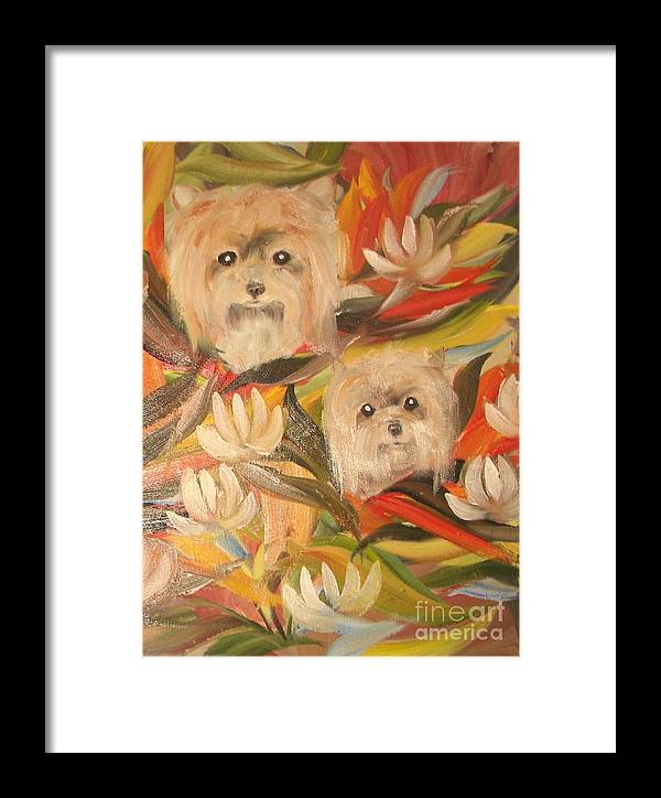 Pets Framed Print featuring the painting Homegrown Yorkies by Rachel Carmichael