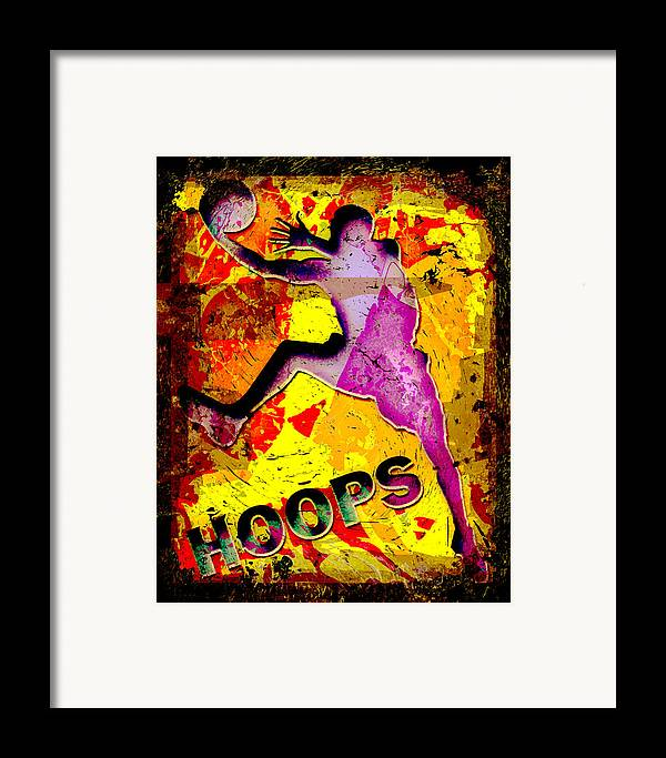 Hoops Framed Print featuring the photograph Hoops Basketball Player Abstract by David G Paul