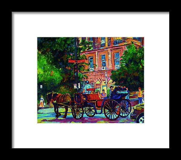 Rue Notre Dame Framed Print featuring the painting Horsedrawn Carriage by Carole Spandau