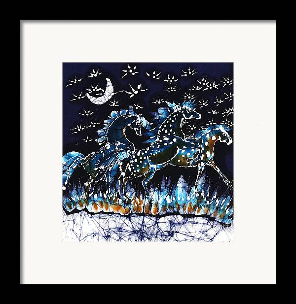 Horses Framed Print featuring the tapestry - textile Horses Frolic On A Starlit Night by Carol Law Conklin