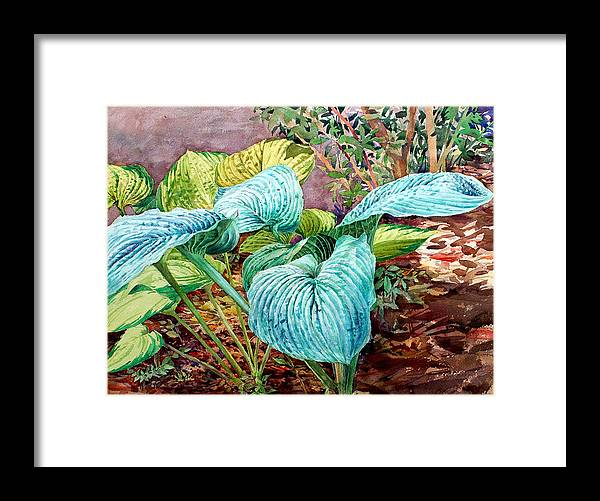 Watercolor Framed Print featuring the painting Hosta by Peter Sit