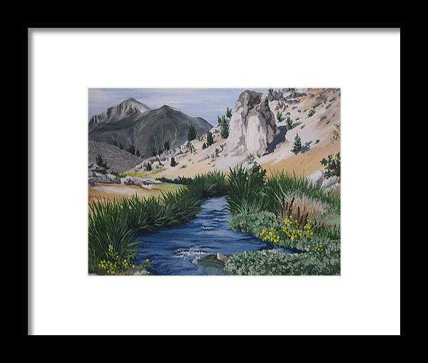 Hwy 395 Framed Print featuring the painting Hot Creek by Barbara Prestridge