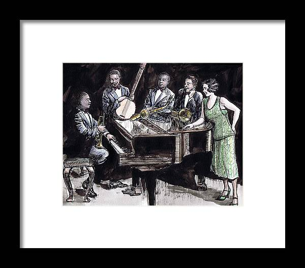 Nostalgia Framed Print featuring the drawing Hot Five by Mel Thompson