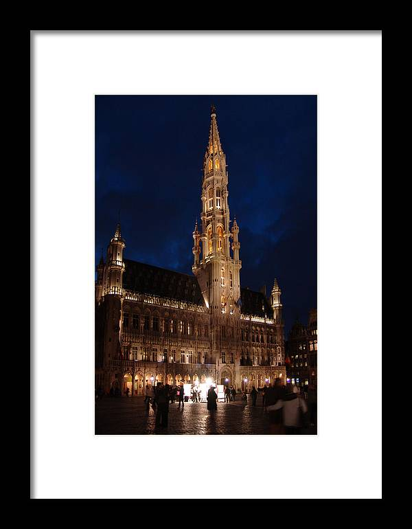 Brussels Framed Print featuring the photograph Hotel De Ville De Bruxelles At Night by Alex Vishnevsky