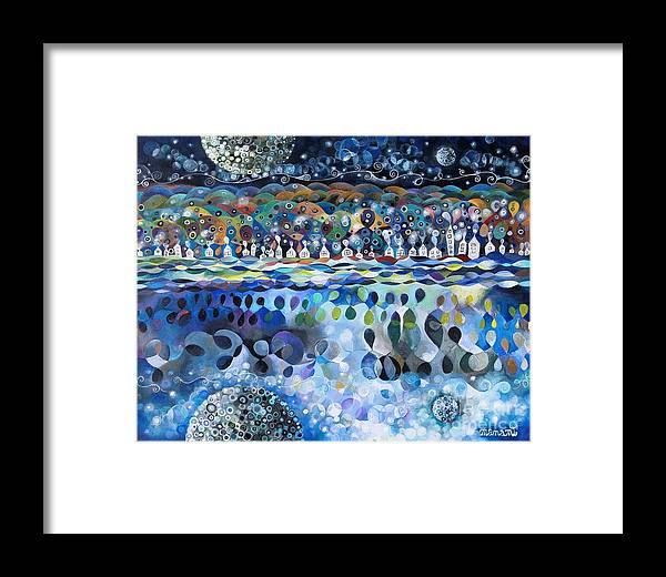 Heaven Framed Print featuring the painting Houses In Heaven by Manami Lingerfelt