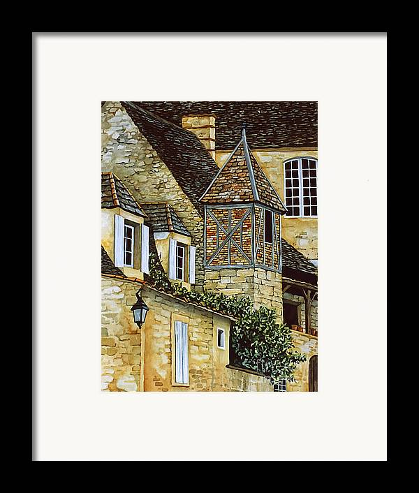 Sarlat Framed Print featuring the painting Houses In Sarlat by Scott Nelson