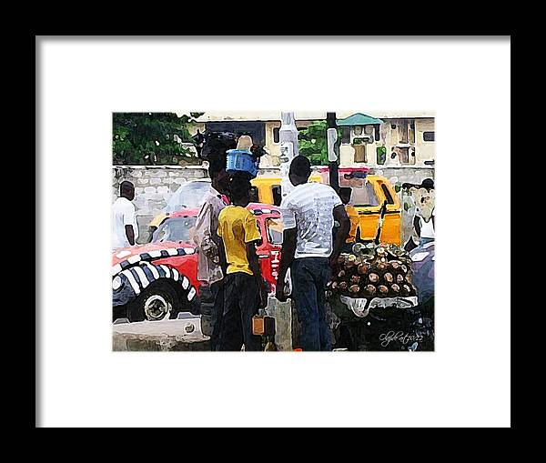 Shoe Framed Print featuring the painting How Market Lagos by Olawuyi Olajide Joseph