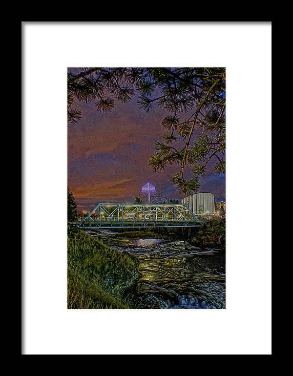 Framed Print featuring the photograph Howard St Bridge Pavillion Imax by Dan Quam