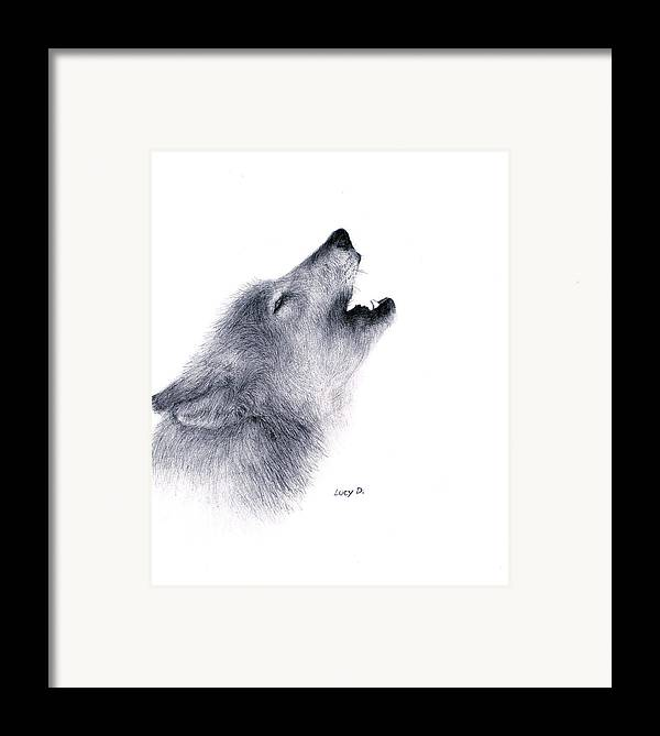 Wolf Framed Print featuring the drawing Howl by Lucy D
