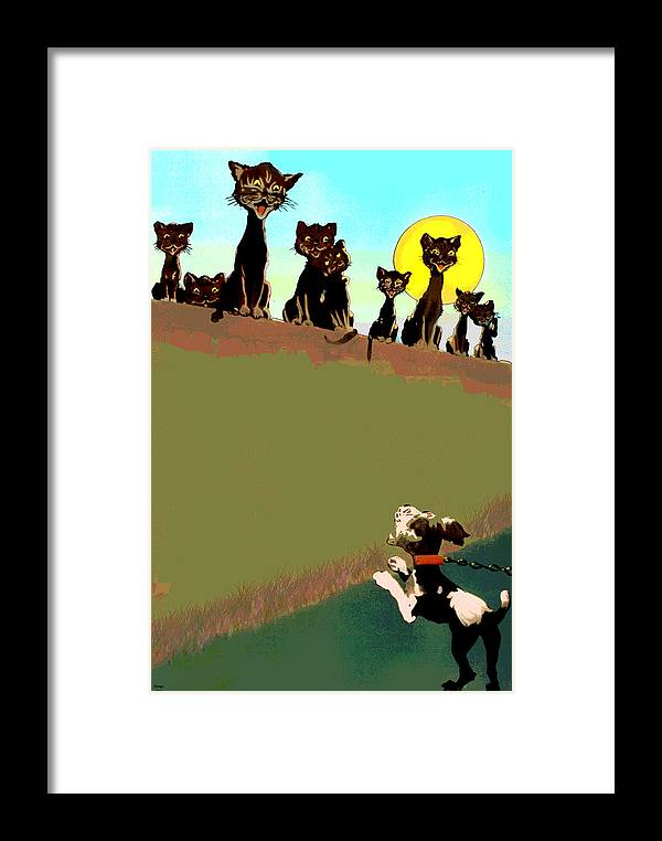 Cat Framed Print featuring the mixed media Howling At The Moon by Charles Shoup