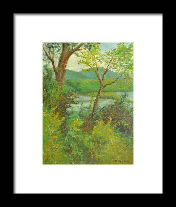 Landscape Framed Print featuring the painting Hudson Highlands View by Phyllis Tarlow