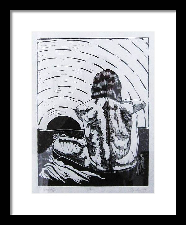 Man Sitting Framed Print featuring the mixed media Humility by Carlos Velasco