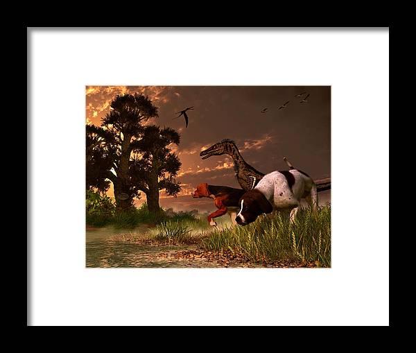 Hunting Framed Print featuring the digital art Hunting In The Age Gene Splicing by Daniel Eskridge